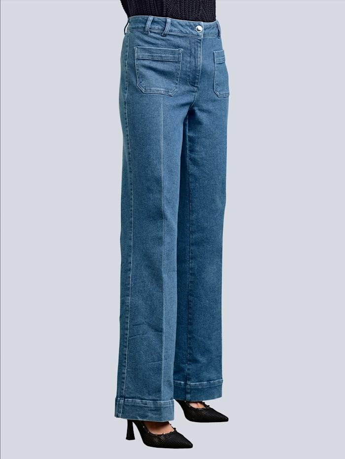 Alba Moda Jeans mit weitem Bein, Jeansblau