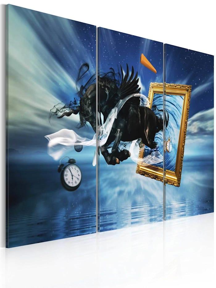 artgeist Wandbild Verwirklichung - Triptychon, Schwarz,Blau,Gold,Weiß