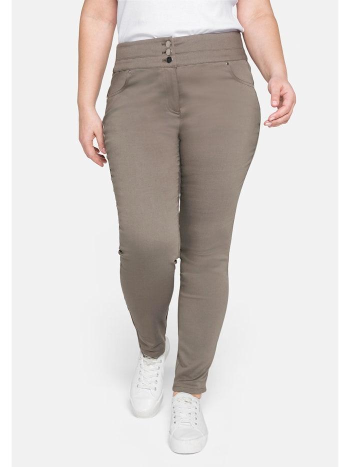 Sheego Hose »Die Skinny« mit breitem Formbund, khaki