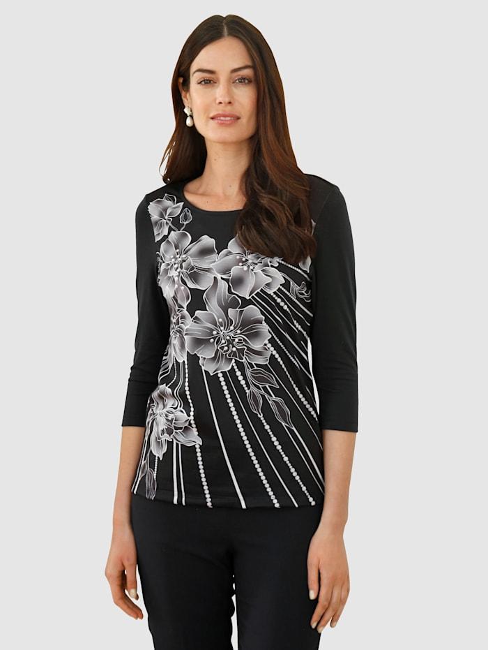 Paola Shirt im modischen Druckdessin, Schwarz/Weiß