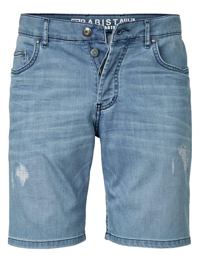 BABISTA Bermuda en jean à effet usé et froissé tendance, Bleu ciel