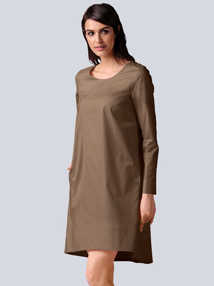 Alba Moda Kleid in elastischer Qualität mit hohem Baumwollanteil, Taupe