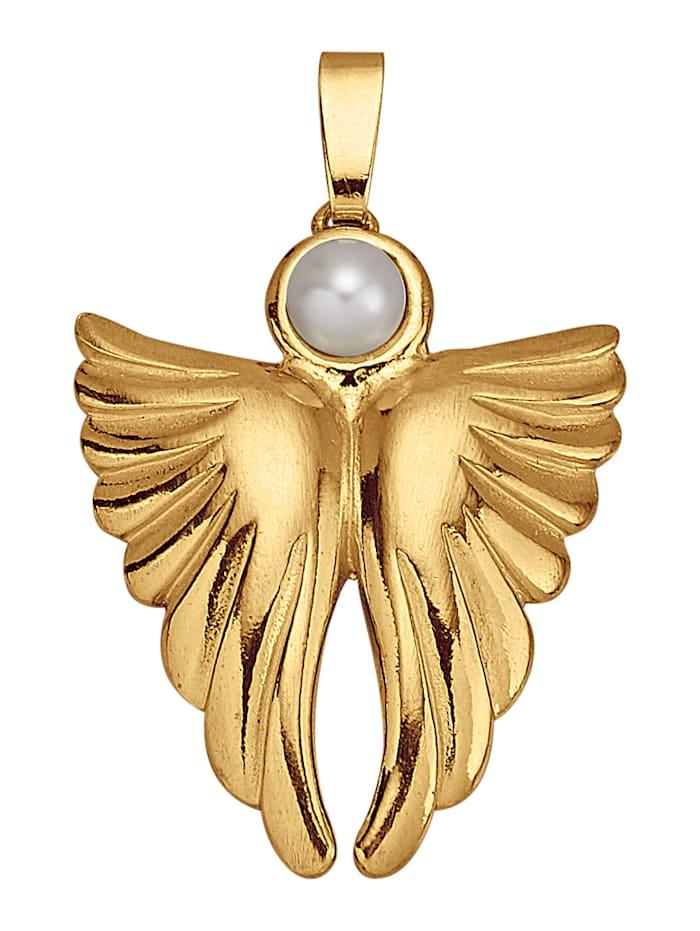 Ursula Christ Pendentif Ange avec 1 perle de culture d'eau douce blanche, Blanc