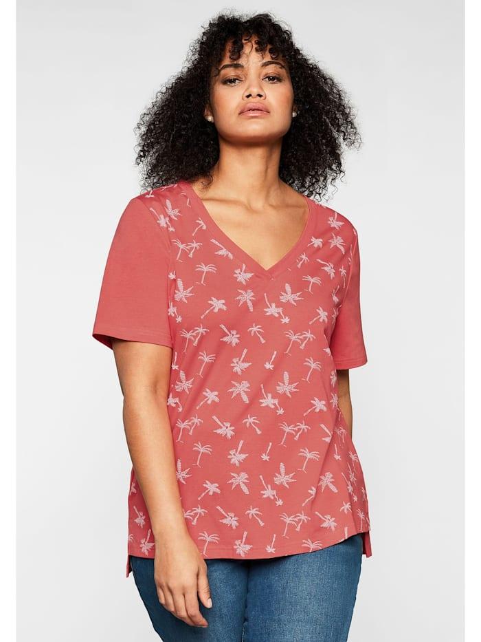 Sheego Sheego T-Shirt mit tiefem V-Ausschnitt und Palmenprint vorn, koralle bedruckt