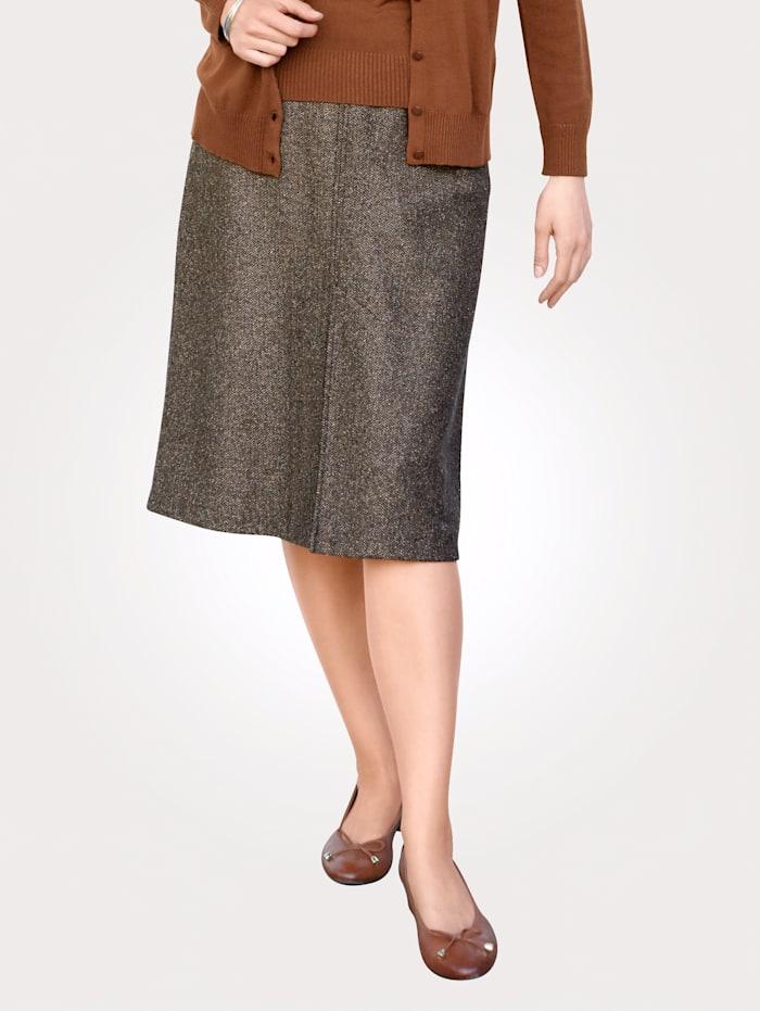 MONA Skirt in a herringbone pattern, Black