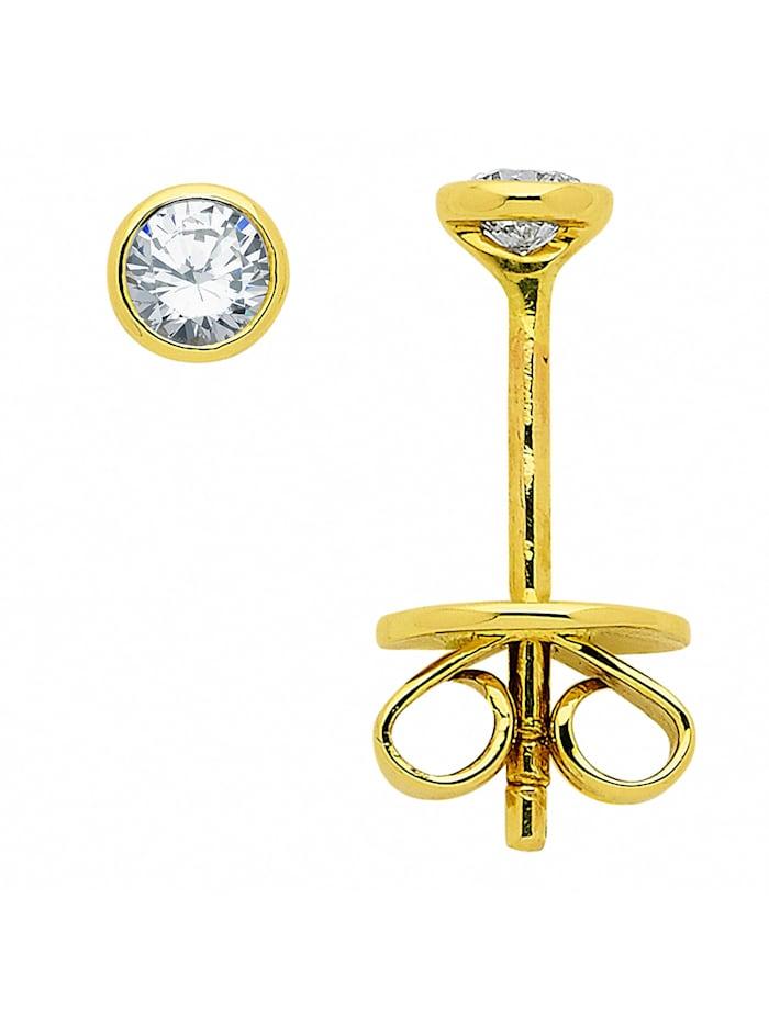 1001 Diamonds Damen Goldschmuck 585 Gold Ohrringe / Ohrstecker mit Brillant Ø 3,4 mm, gold