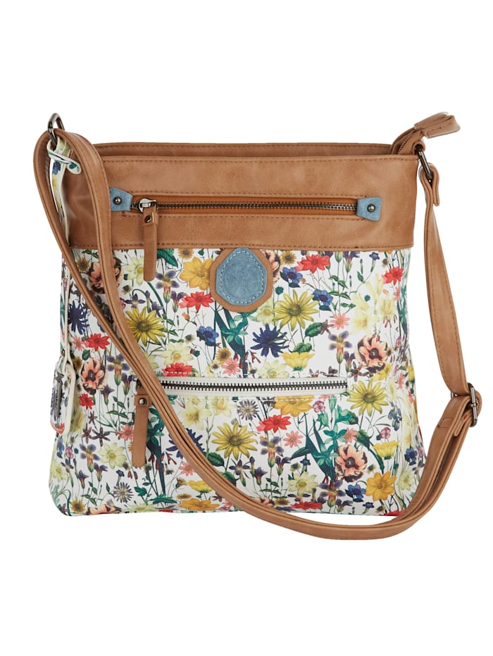 Rieker Shoulder bag with a floral print and shimmering finish, Brown