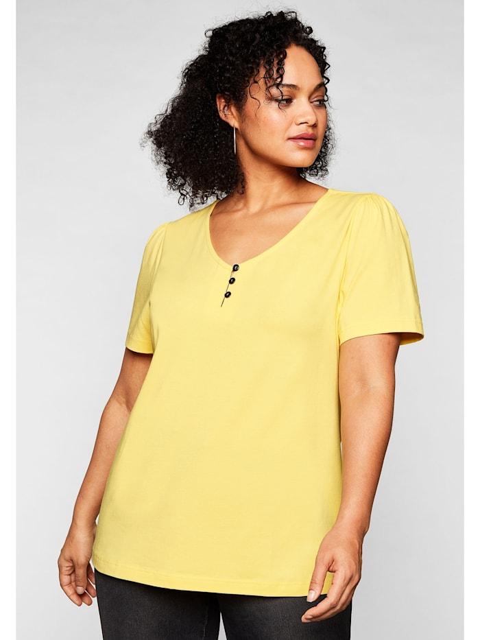 Sheego Sheego T-Shirt mit leichten Puffärmeln und kurzer Knopfleiste, hellgelb
