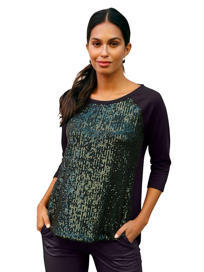AMY VERMONT Sweatshirt mit Pailletteneinsatz, Schwarz/Grün