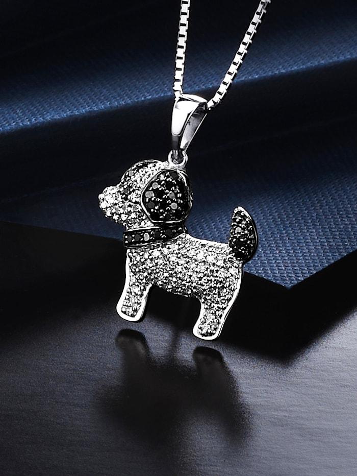 Hunde-Anhänger mit weißen und schwarzen Diamanten