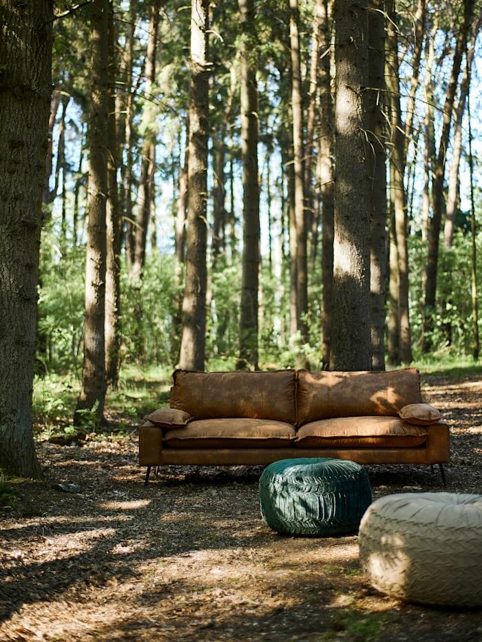 Sofa mit Materialmix, Recyceltes Leder & Samt