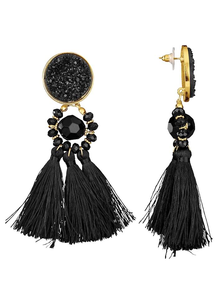 Stud Earrings with Tassel, Black