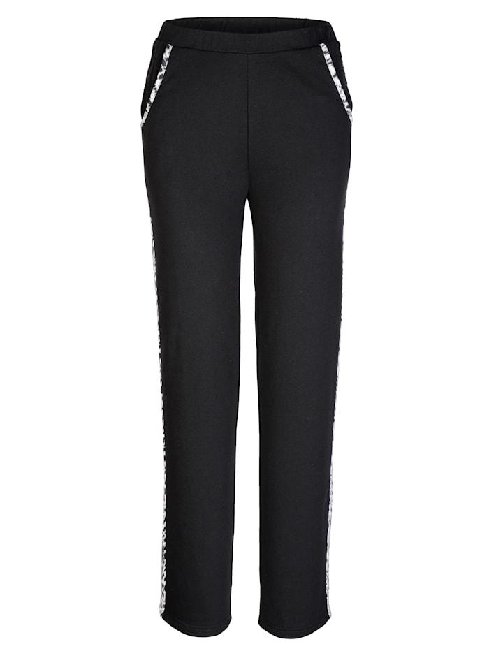 Harmony Pantalon de loisirs à empiècements contrastants côtés, Noir/Blanc