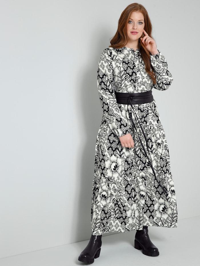Sara Lindholm Web-Kleid rundum mit Blumendruck, Off-white/Schwarz