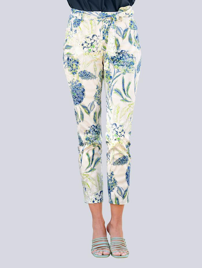 Alba Moda Broek met opvallende bloemenprint, Wit/Groen/Jeansblauw