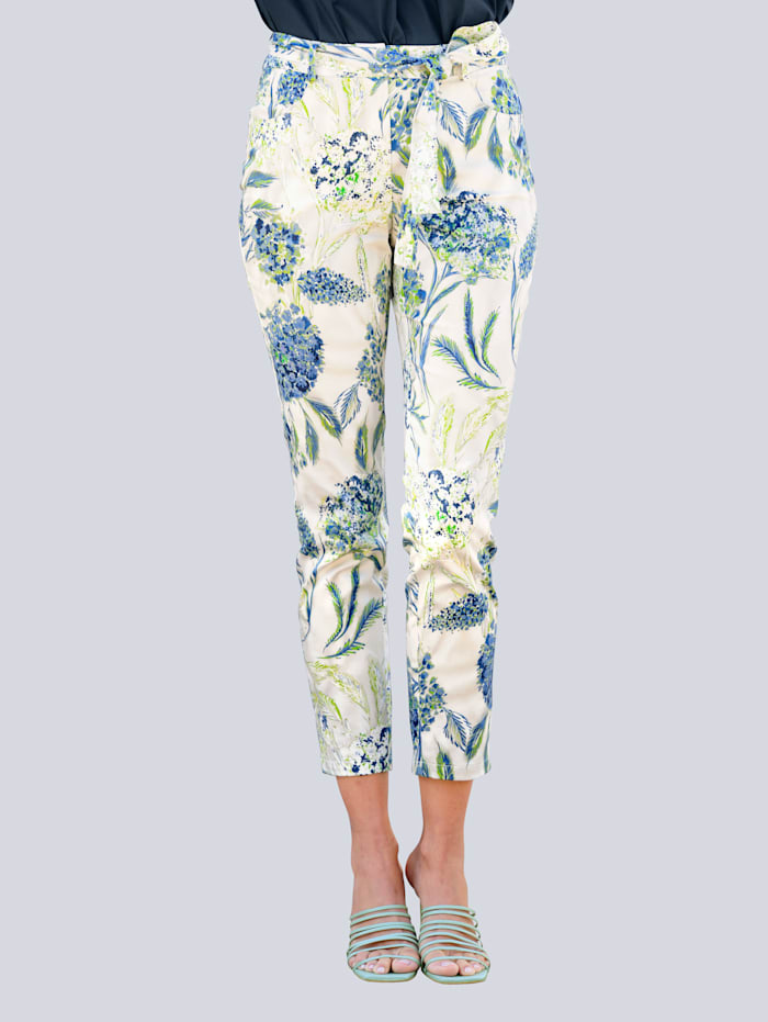Alba Moda Hose im neu designtem Floralprint allover, Weiß/Grün/Jeansblau