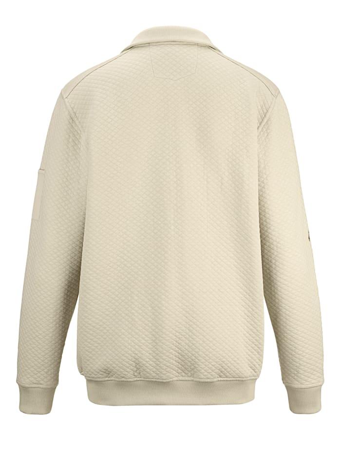 Sweatshirtjacka med rombkviltat mönster