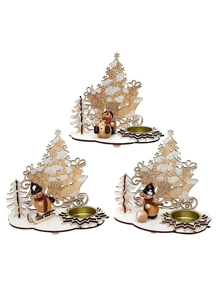 Sigro Teelichthalter mit Schneemannfigur Schlitten mit Schnee, Natur
