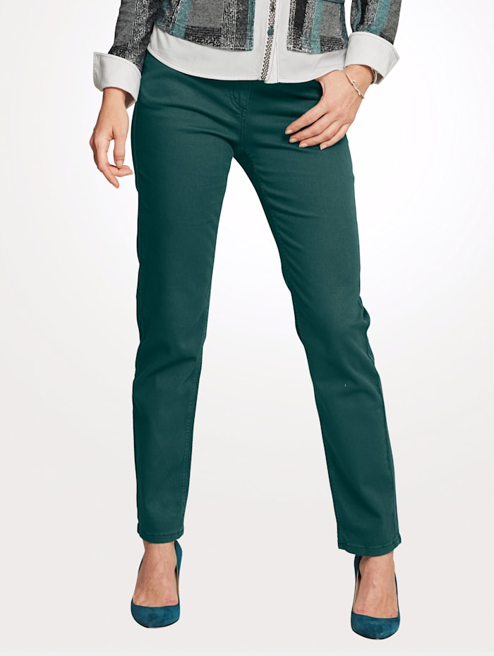 MONA Pantalon partiellement extensible en grandes tailles, Pétrole