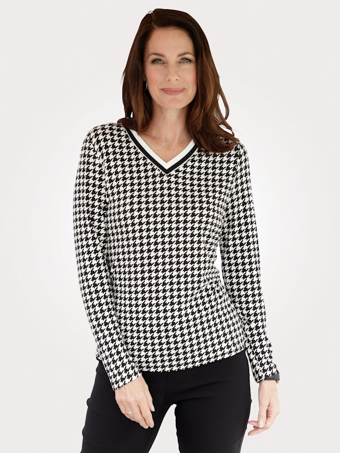 MONA Shirt mit klassischem Hahnentrittmuster, Schwarz/Weiß