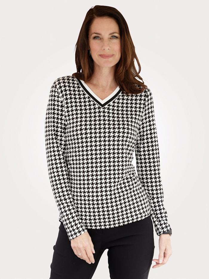 MONA Shirt met klassiek pied-de-pouledessin, Zwart/Wit