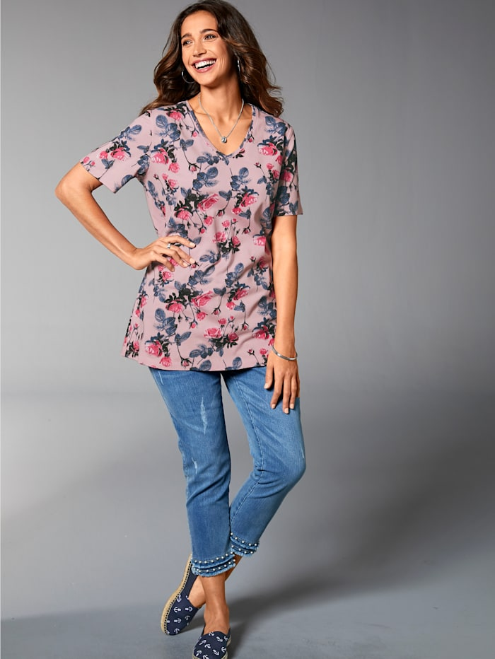 MIAMODA Shirt mit floralem Druck, Rosé