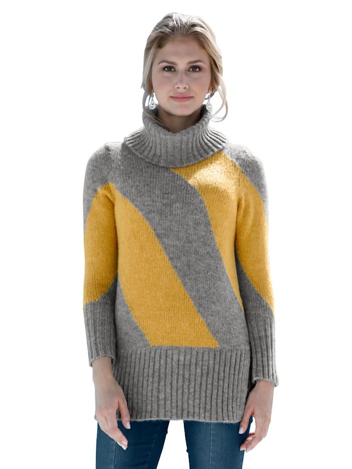 AMY VERMONT Pullover mit Rollkragen, Grau/Gelb