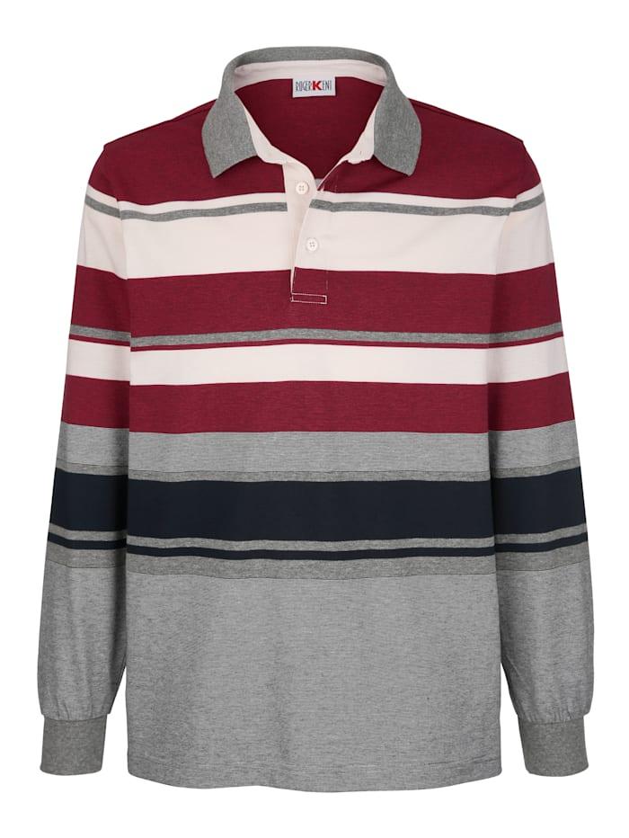 Roger Kent Poloshirt met ingebreid streeppatroon, Rood/Wolwit