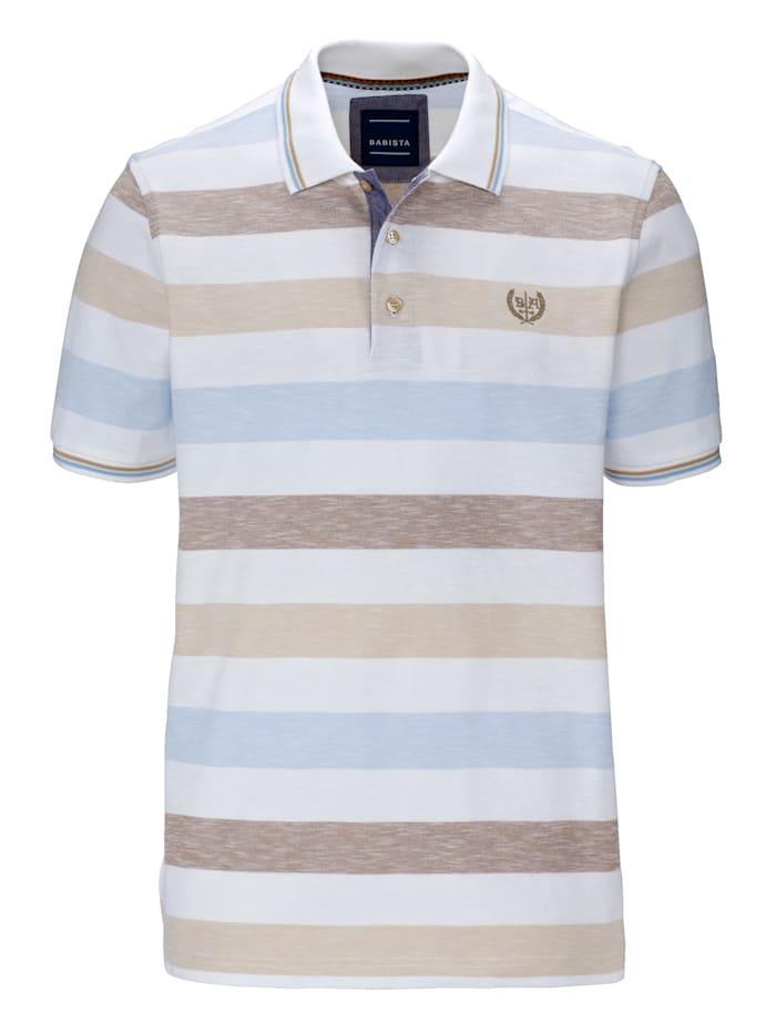 BABISTA Poloshirt in gemêleerde look, Wit/Beige
