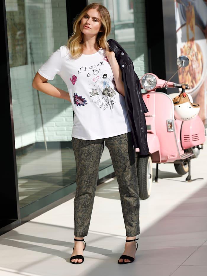 Sara Lindholm Shirt aus reiner Baumwolle, Weiß