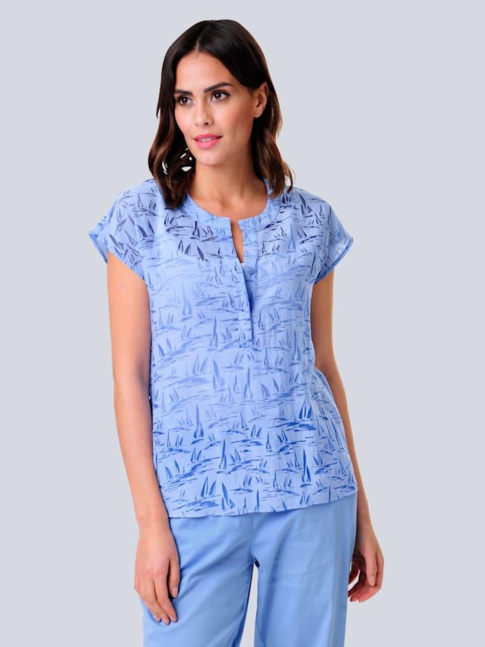 Alba Moda Bluse in schönem Ausbrenner-Dessin, Hellblau