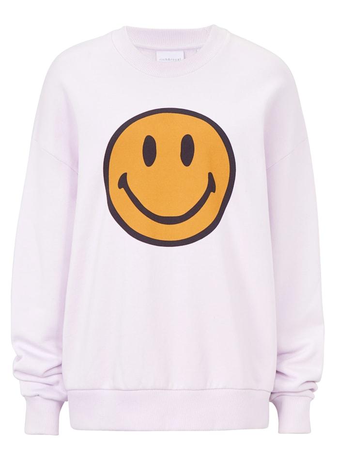 rich&royal Sweatshirt mit Smiley-Print, Flieder