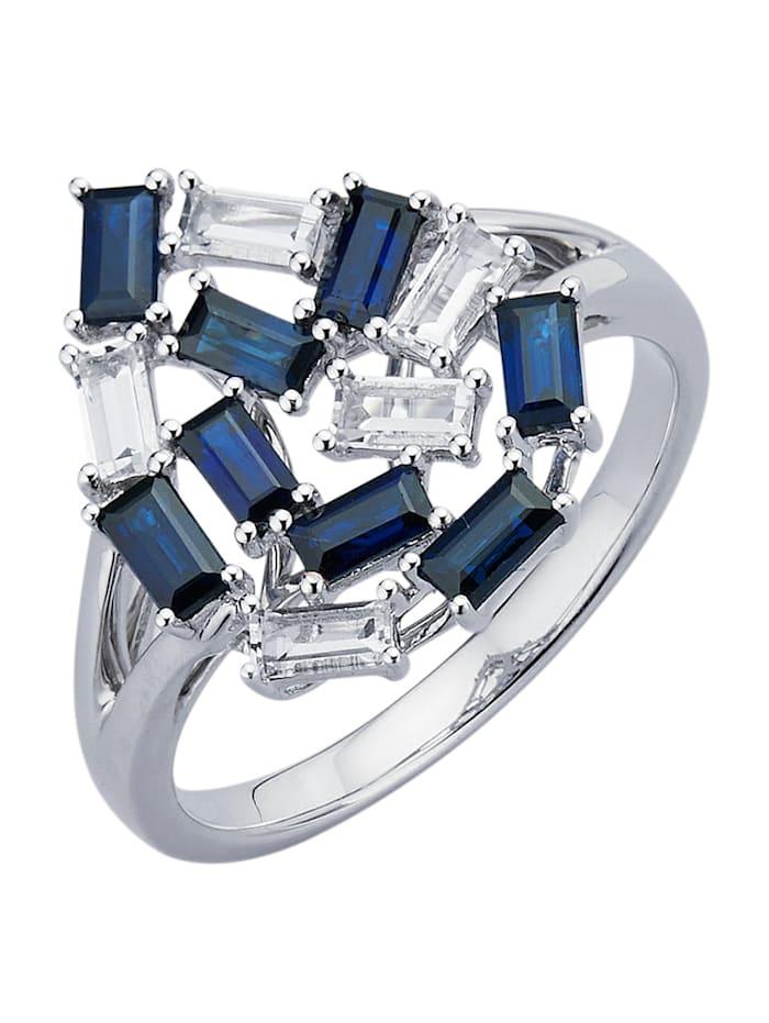 Diemer Farbstein Damenring mit Saphiren und Weißtopasen, Blau