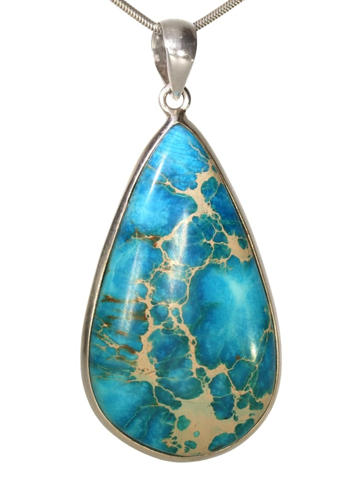1001 Diamonds Damen Schmuck Edelstein Jaspis Anhänger 925 Silber Blaugrüntöne, Blaugrüntöne