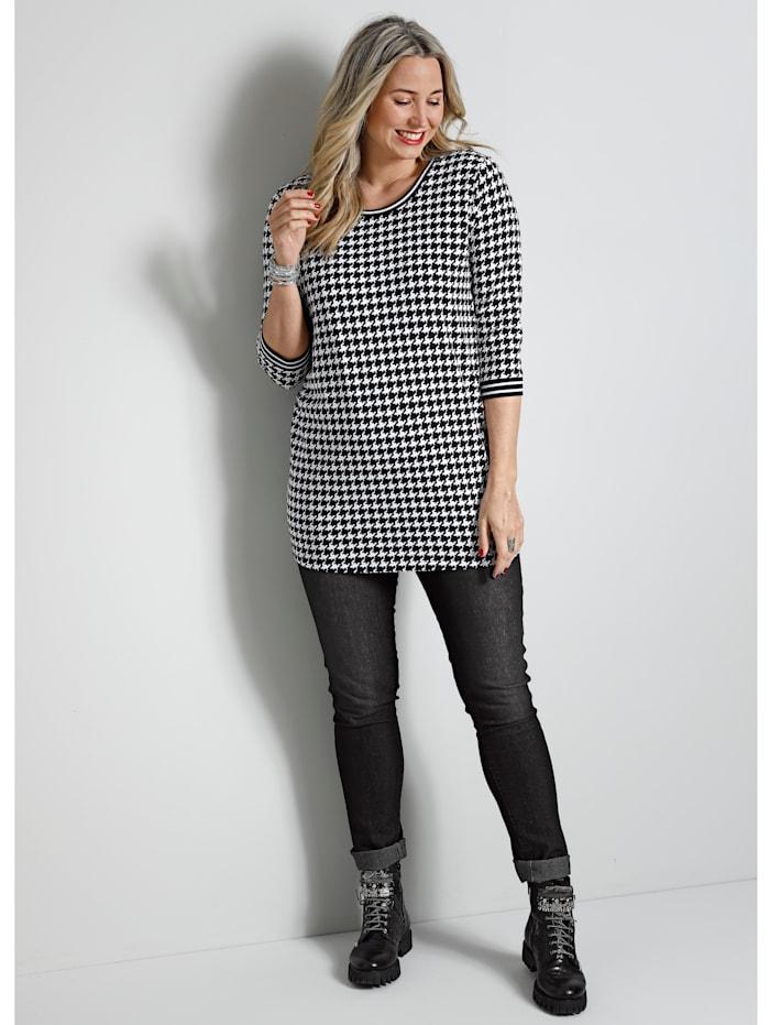 MIAMODA Longshirt mit Strickbündchen, Schwarz/Weiß