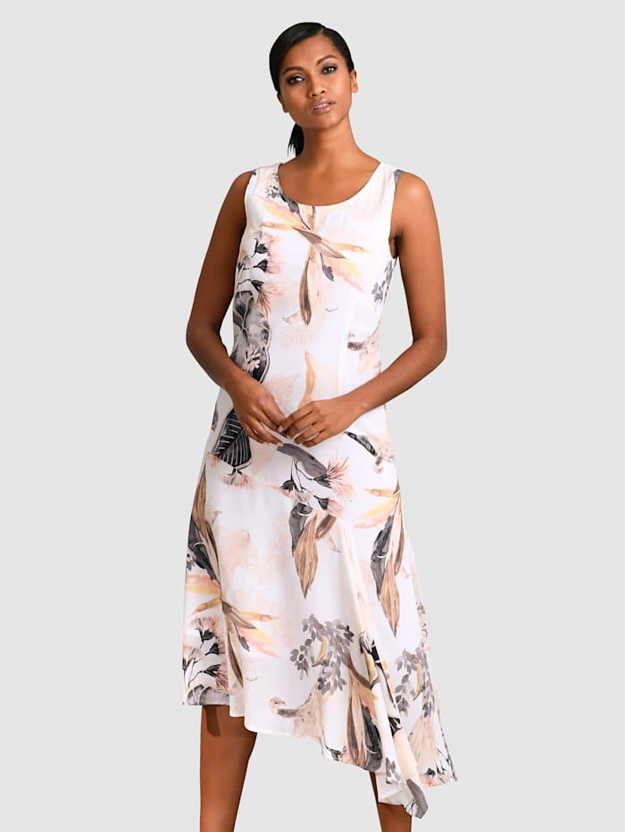Alba Moda Kleid mit asymmetrischem Saum, Creme-Weiß/Grau