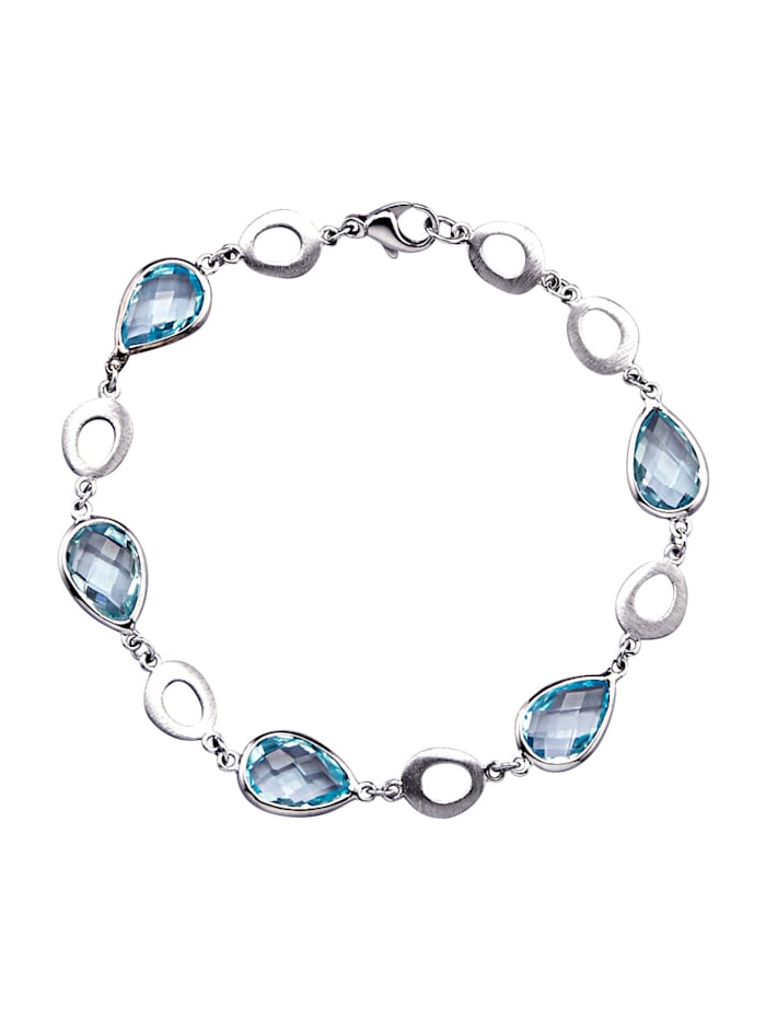 Diemer Farbstein Armband mit Blautopasen, Blau
