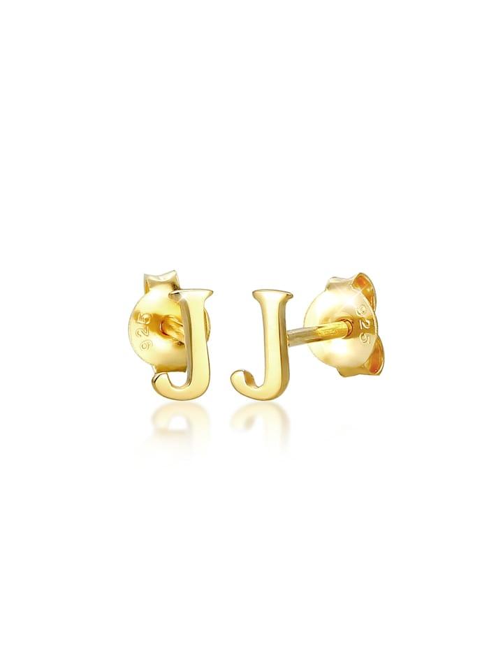 Elli Ohrringe Stecker Buchstabe J Initialen Minimal 925 Silber, Gold