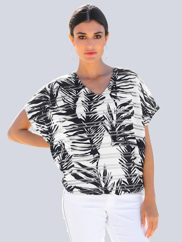 Alba Moda Shirt in Ausbrenner-Qualität, Schwarz/Off-white/Silberfarben