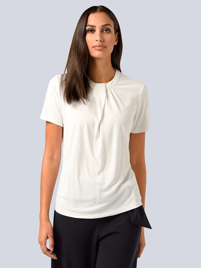 Alba Moda T-shirt à plis surpiqués, Blanc