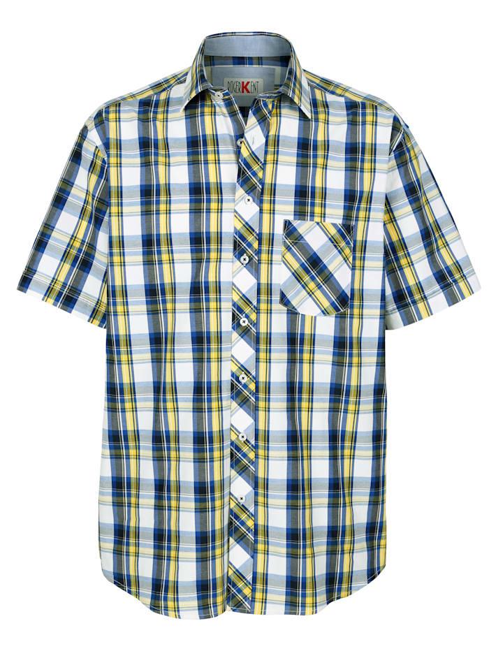 Roger Kent Hemd mit garngefärbtem Karomuster, Marineblau/Gelb