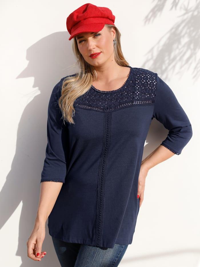 MIAMODA Shirt mit Spitzendetails, Marineblau