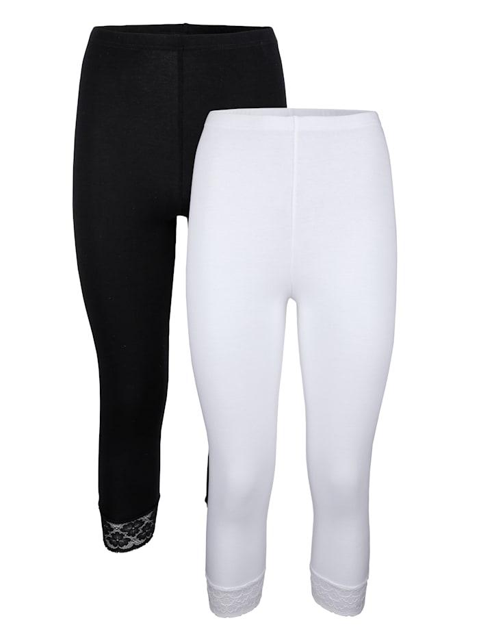 HERMKO Leggings 3/4 en coton certifié haut de gamme, Blanc/Noir