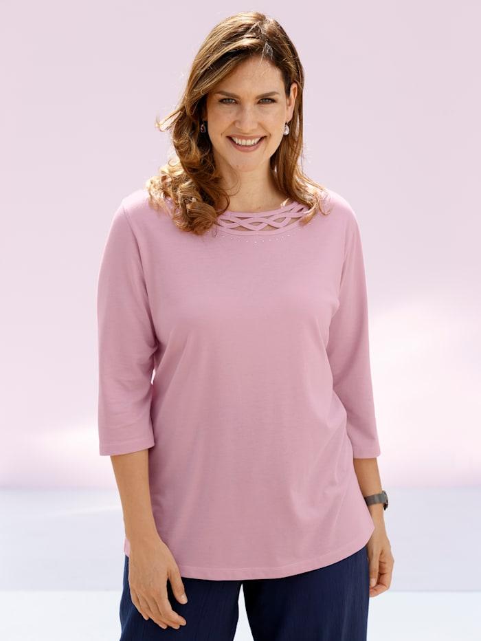 m. collection Shirt mit verziertem Ausschnitt, Rosé