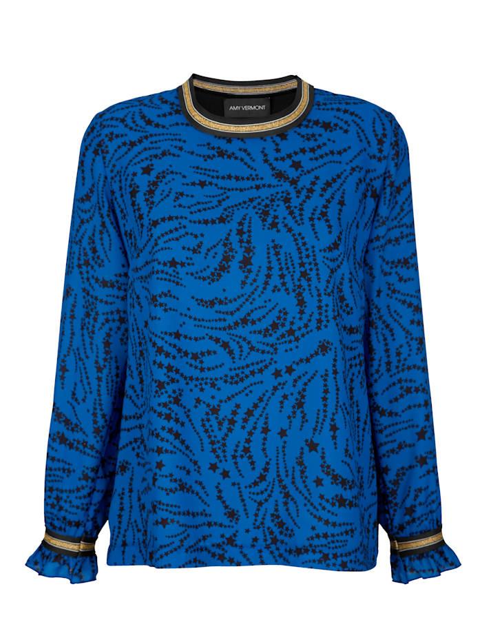AMY VERMONT Bluse mit Zierbändern, Schwarz/Royalblau