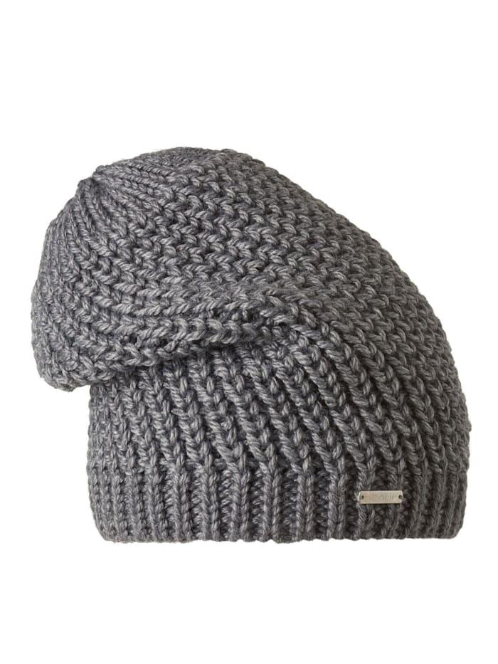 Stöhr BÄRBEL - Längere lässige Damenmütze mit groben Maschen, Grau
