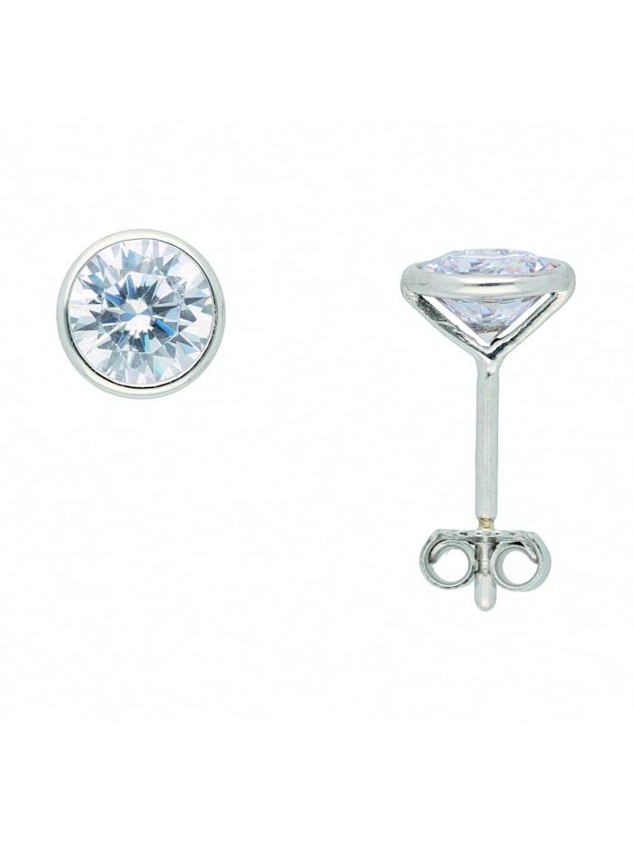 1001 Diamonds Damen Weißgoldschmuck 333 Weißgold Ohrringe / Ohrstecker mit Zirkonia Ø 6 mm, silber