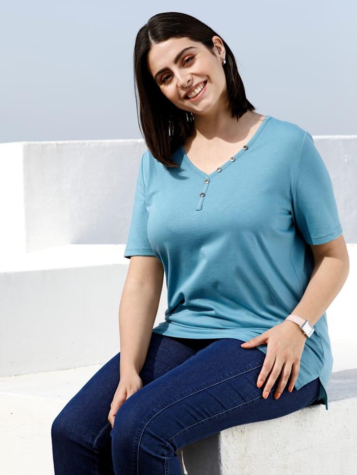 m. collection Shirt met sierknopen, Petrol