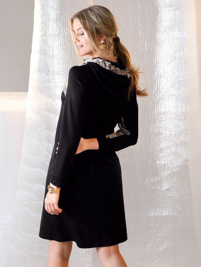 AMY VERMONT Jerseykleid mit Pailletten im Vorderteil, Schwarz