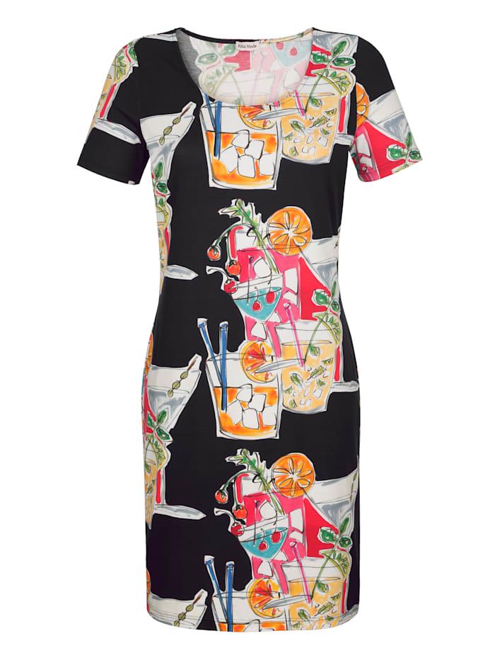 Alba Moda Strandjurk met multicolor motief, zwart/oranje